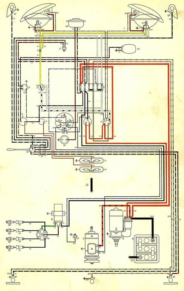 Volkswagen Wiring Diagram BUS AND TRANSPORTER 1970 VW ...