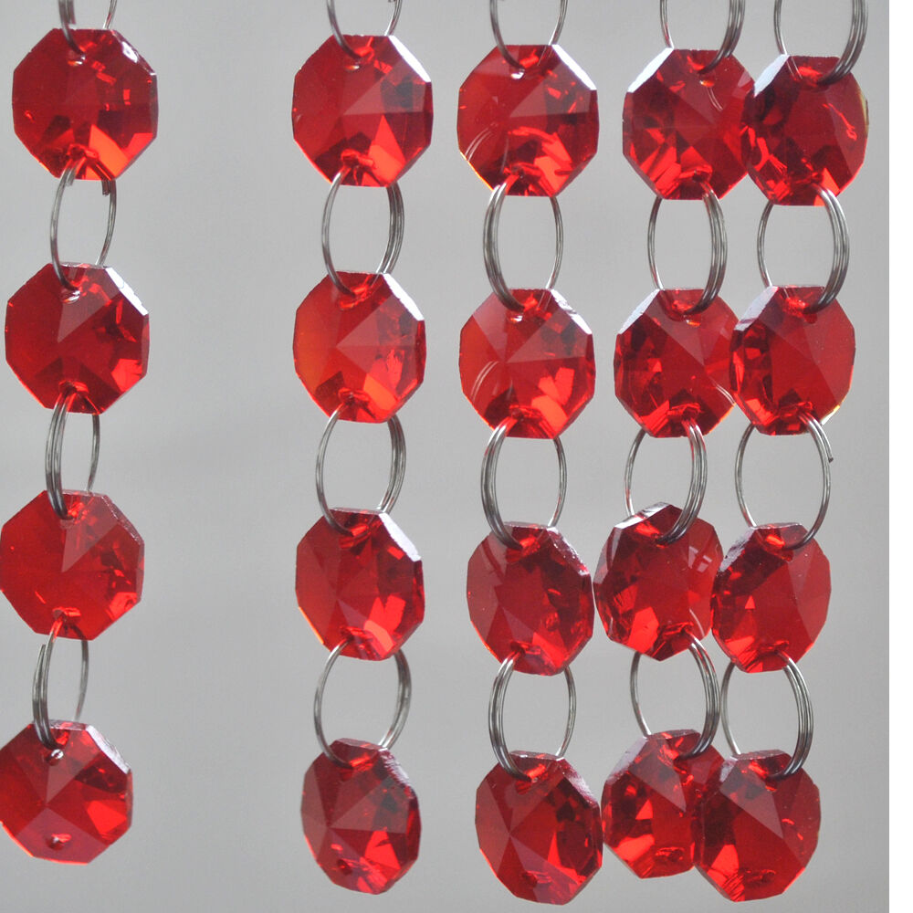 Red 14mm octagon crystal beads chandelier lamp prism ornament ebay - Chandelier glass beads ...