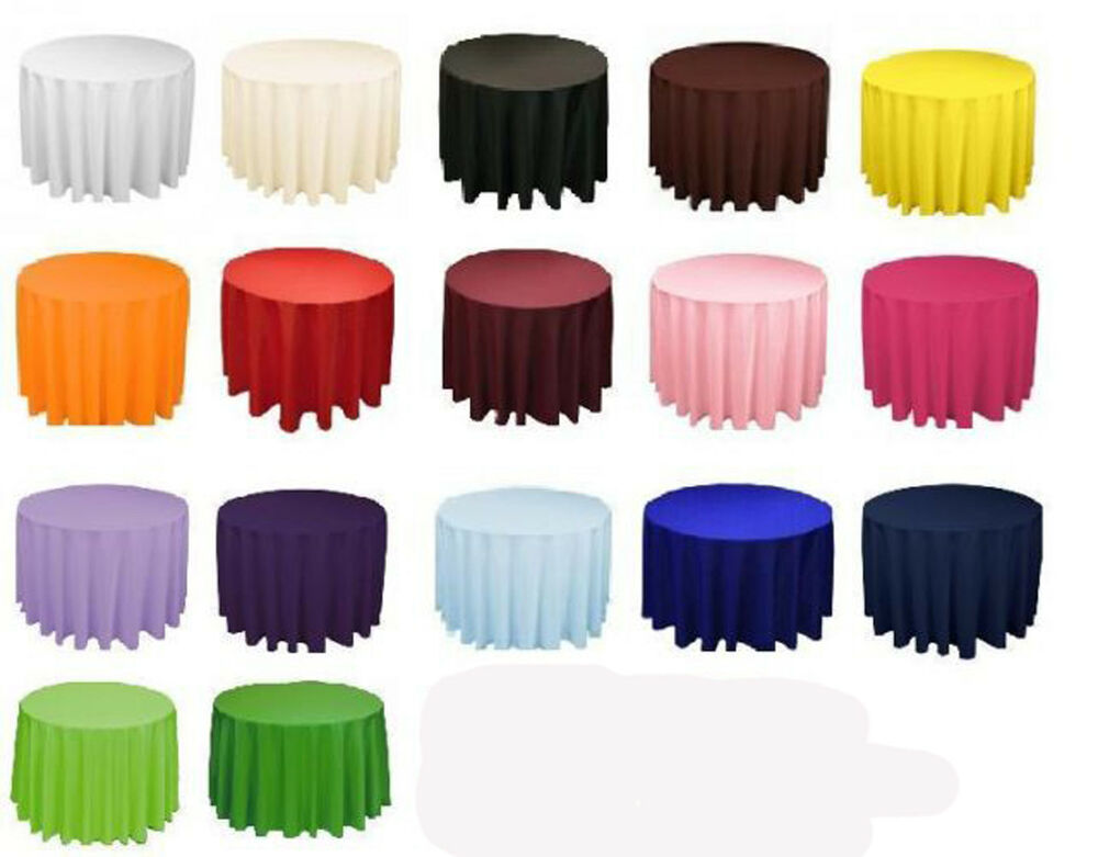 20 Round 132 Inch Tablecloths 100 Polyester 25 Colors