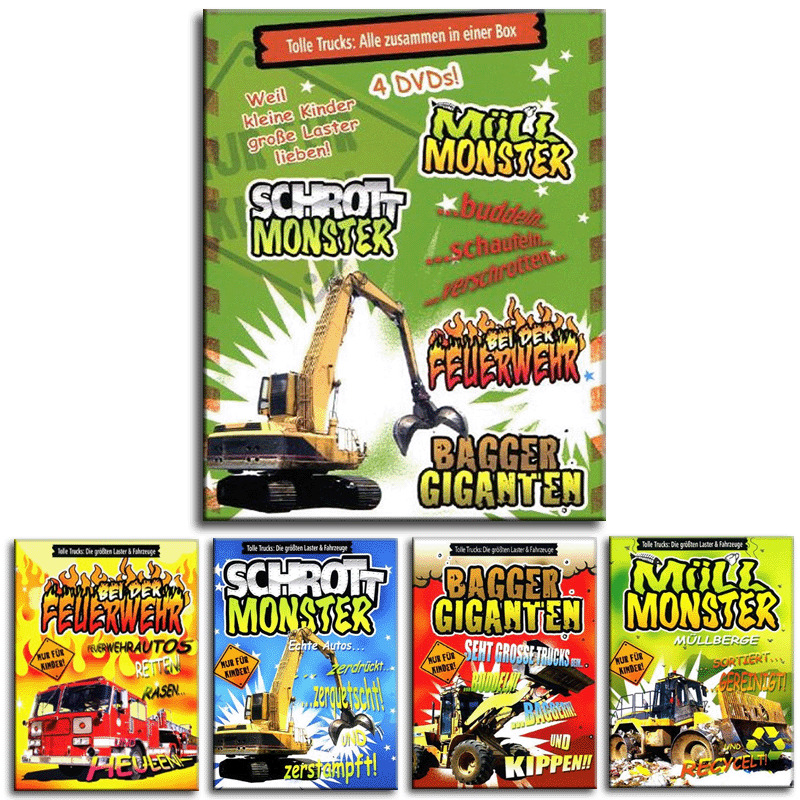 4 dvd box f r jungen z hlen buchstabieren lernen mit bagger trucks neu ebay. Black Bedroom Furniture Sets. Home Design Ideas