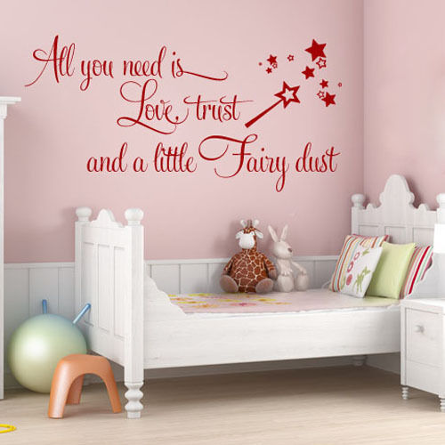 LOVE TRUST FAIRY DUST BABY GIRLS TEEN BEDROOM - Wall Quote ...
