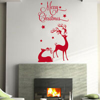 **MERRY CHRISTMAS REINDEER HOME WALL SHOP WINDOW - Wall Quote Sticker / Decal
