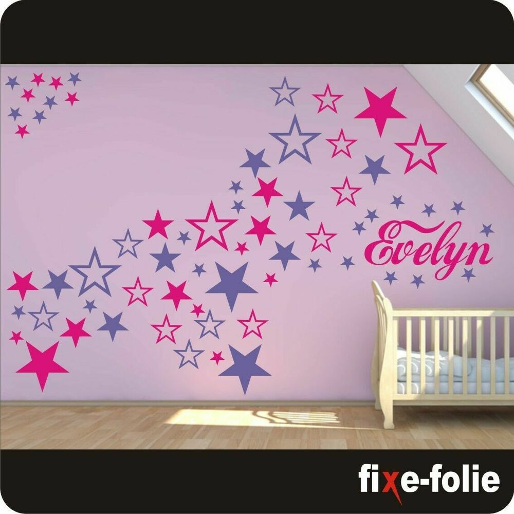 wandtattoo sterne kinderzimmer wunschname aufkleber name sticker neu 123 ebay. Black Bedroom Furniture Sets. Home Design Ideas