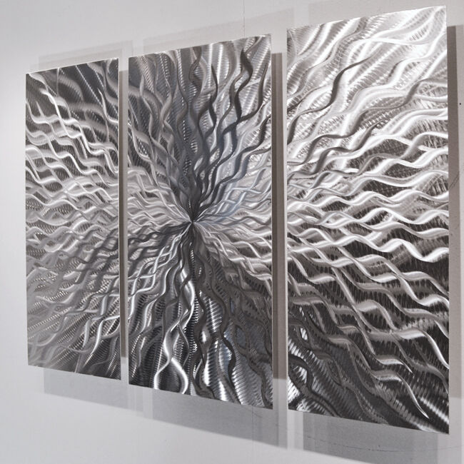 Contemporary Silver Wall Decor : Modern abstract metal wall sculpture art contemporary