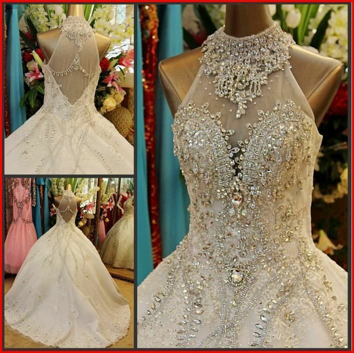 Crystal Wedding Gown: YZ Fashion Bridal Luxury Crystal Bright Diamond Sexy Fancy