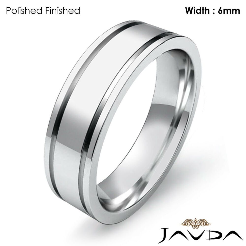 Men Wedding Solid Band 14k White Gold Flat Fit Plain Ring 6mm 8gm Size 8 875