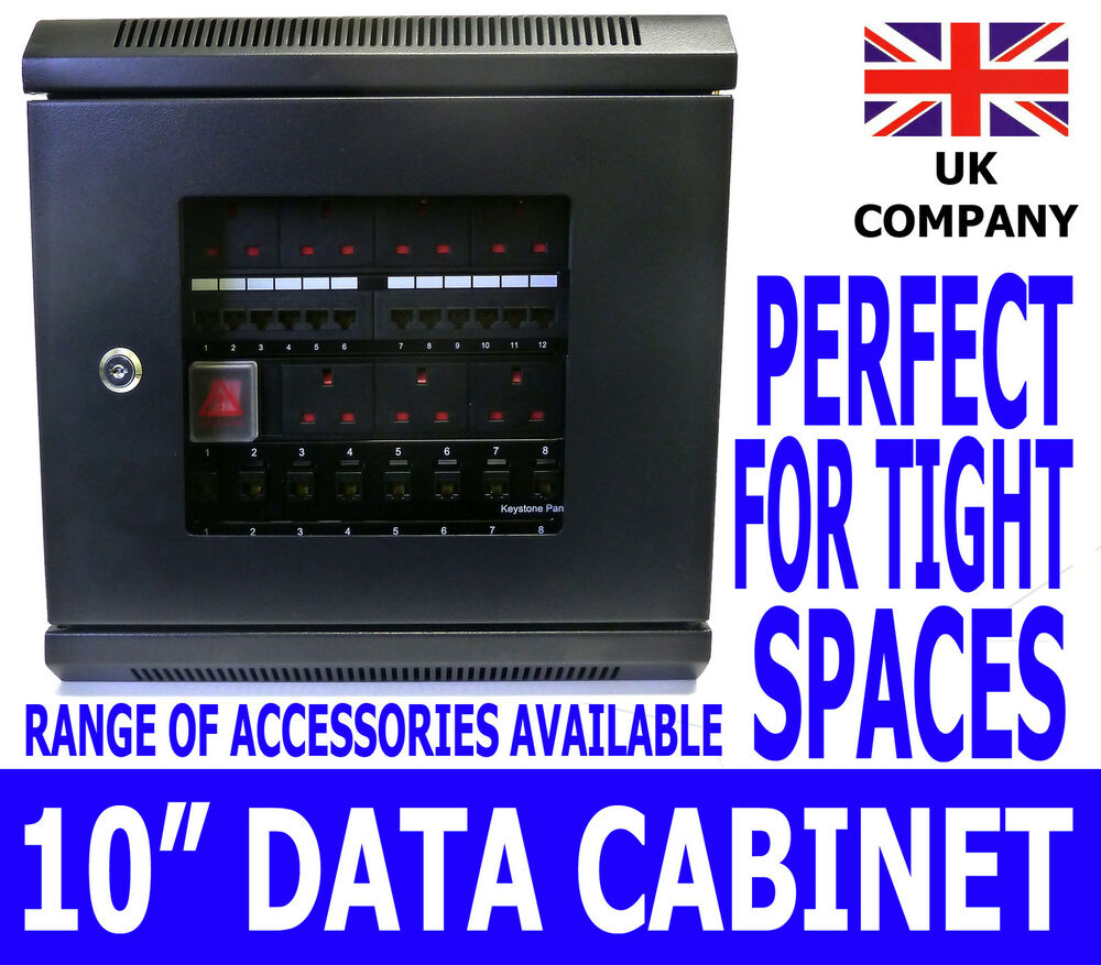 "10"" 6U Black Wall Cabinet Network Data Rack SOHO Home"
