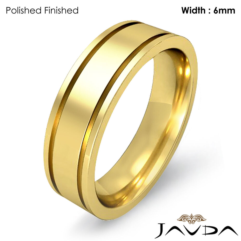 Men Wedding Solid Band 18k Yellow Gold Flat Fit Plain Ring 6mm 94gm Size 8 875