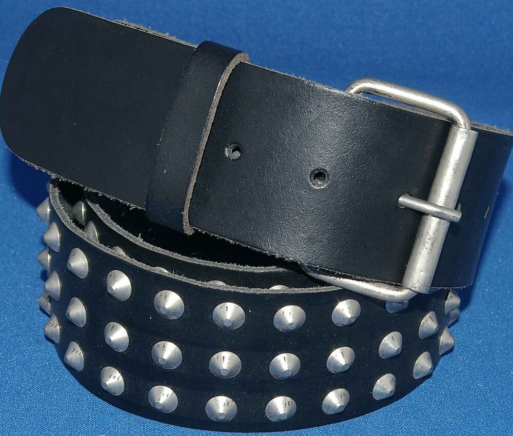 Black Real Leather 3 Row Conical Studded Belt 50mm 2in