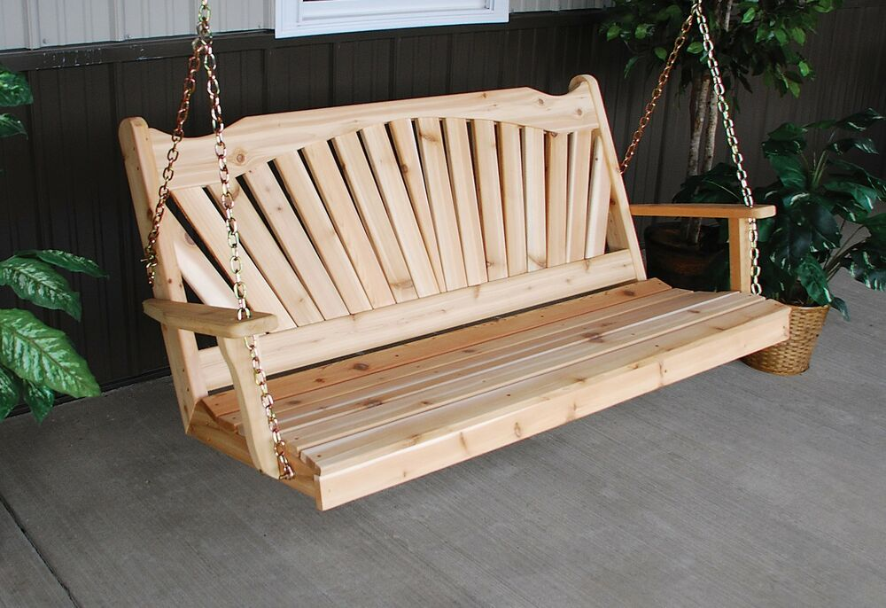 classic outdoor cedar 6 foot fanback porch swing 8 stain