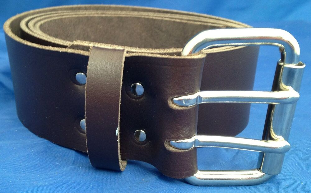 brown leather belt 2 prongs 2 inch wide made 100