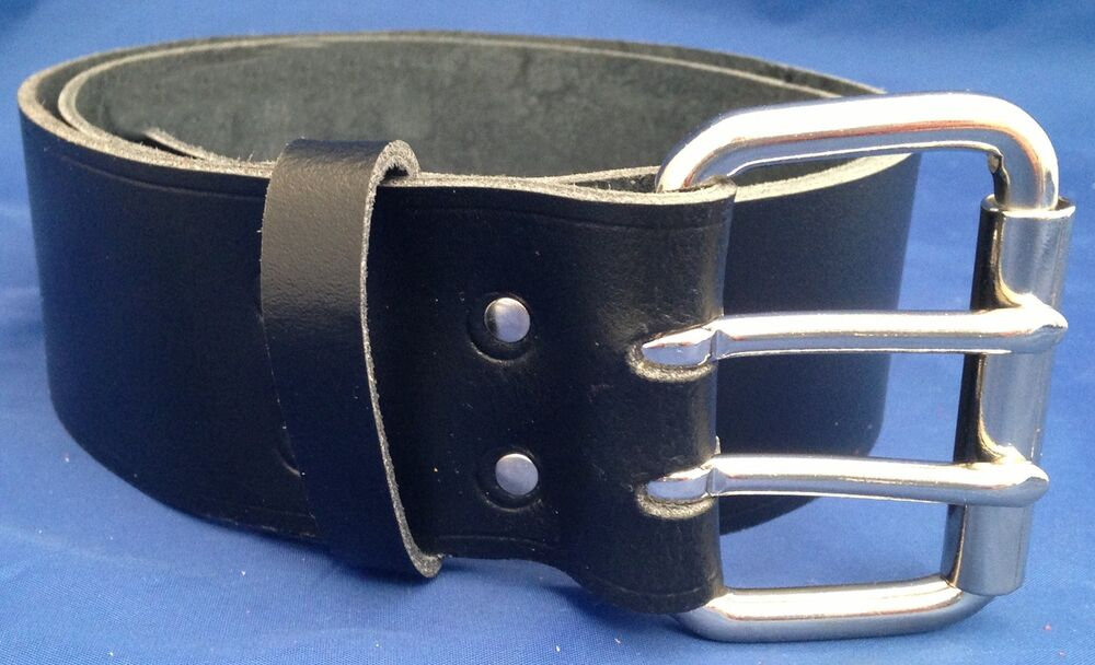 black leather belt 2 prongs 2 inch wide made 100