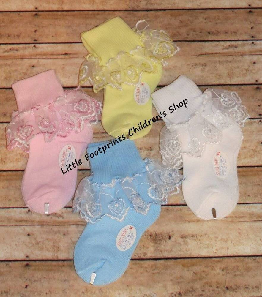 Baby Toddler Girl Heart Lace Socks Pink White Blue Yellow