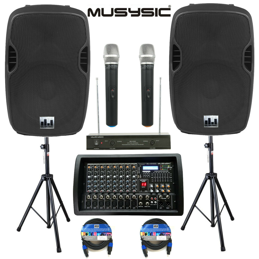 complete professional 4500w pa system 8 ch mixer 2pc 15 speakers wireless mics ebay. Black Bedroom Furniture Sets. Home Design Ideas