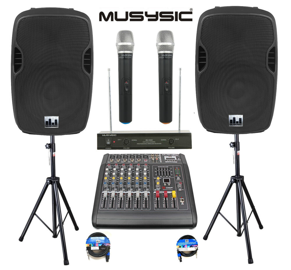 professional 2000w pa system 6 channel mixer 10 speakers dual wireless mic bt ebay. Black Bedroom Furniture Sets. Home Design Ideas