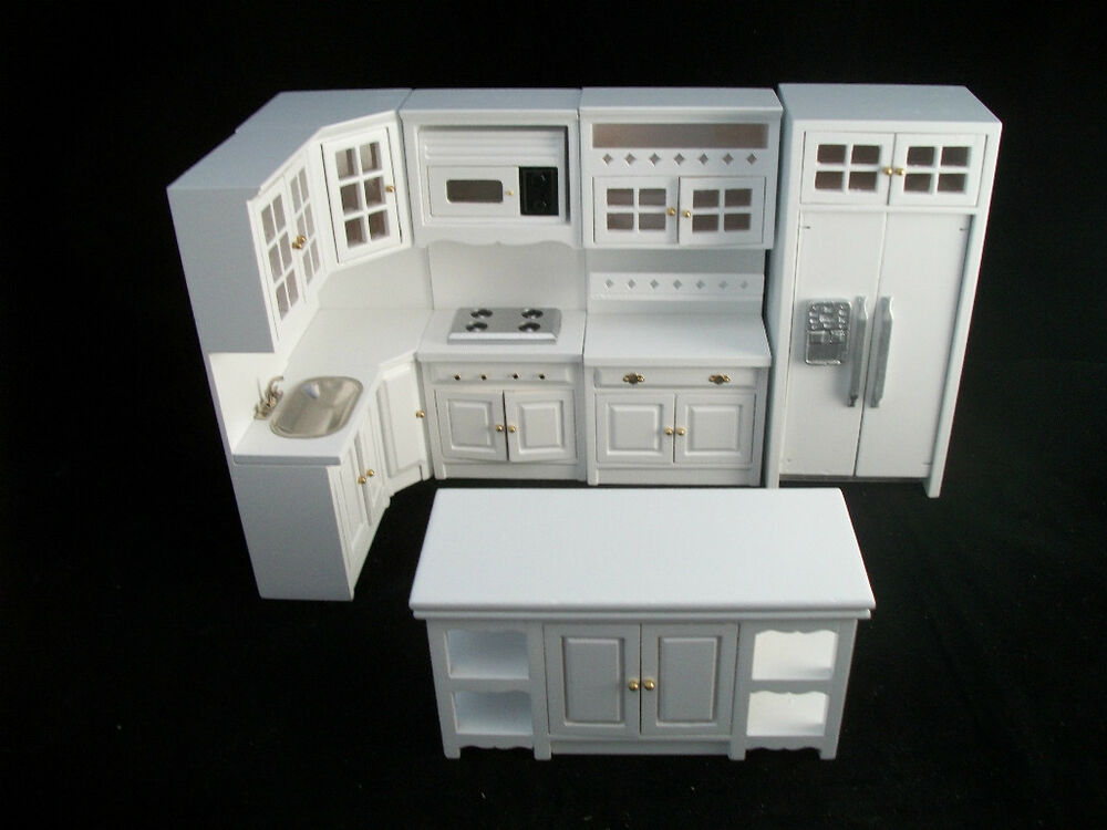 deluxe kitchen set white t5425 dollhouse miniature 8pc 1