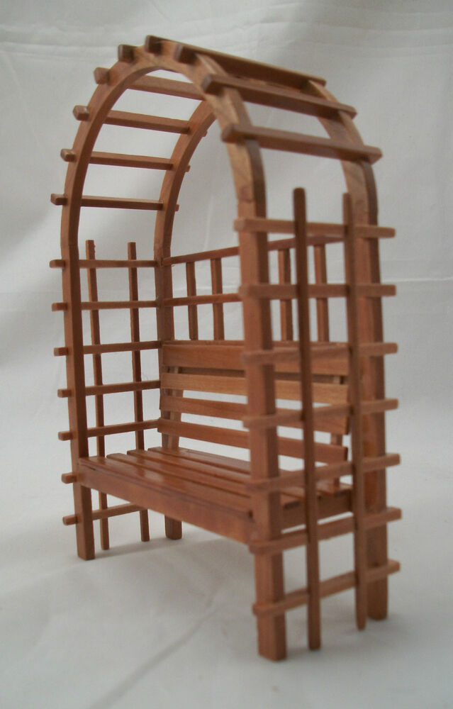 Garden bench dollhouse miniature furniture 1 12 scale t7219 wood w pecan finish ebay Dollhouse wooden furniture