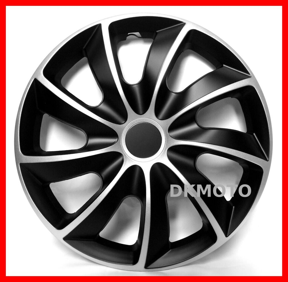 4x14 wheel trims for peugeot 206 306 406 107 partner full set silver black ebay. Black Bedroom Furniture Sets. Home Design Ideas
