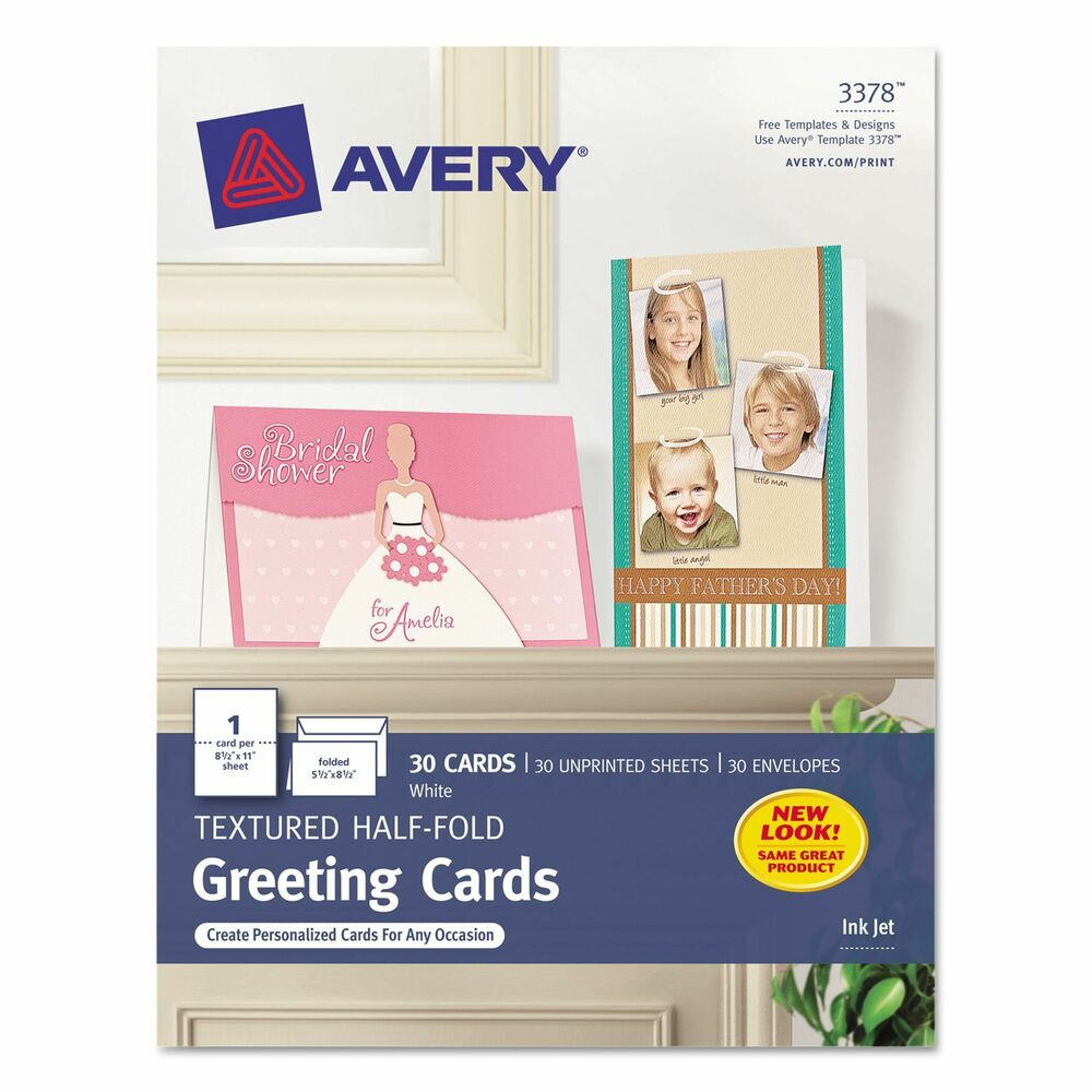 Avery 3378 textured half fold greeting cards 55quot x 85quot 30 cards ebay for Avery note cards