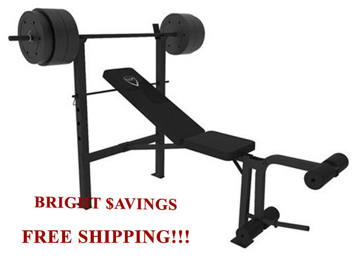 Cap Barbell Deluxe Standard Bench With 100 Lb Weight Set Lifting Ebay
