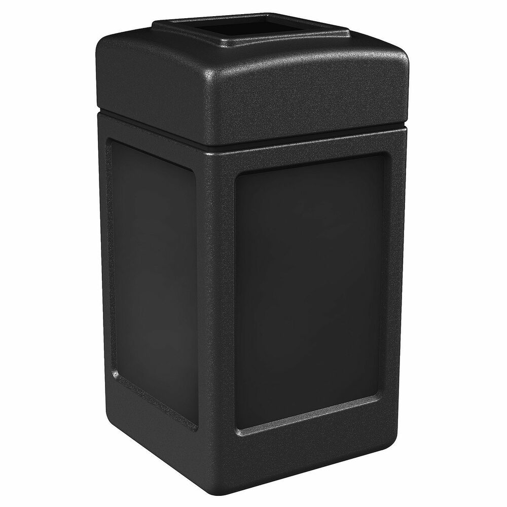Commercial Outdoor Trash Can Black 42 Gallon Garbage Can Easy Access Top Ebay
