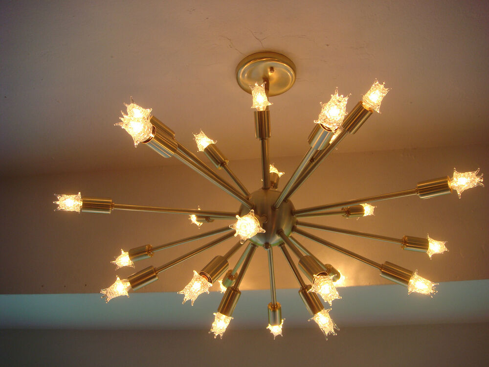 Sputnik starburst light fixture chandelier lamp satin brushed brass with bulbs ebay - Chandelier ceiling lamp ...