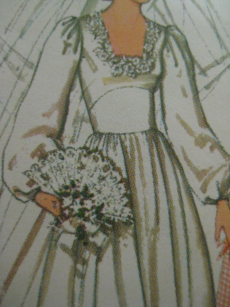 Vintage simplicity 7886 square neck bridal wedding gown for Wedding dress patterns vintage