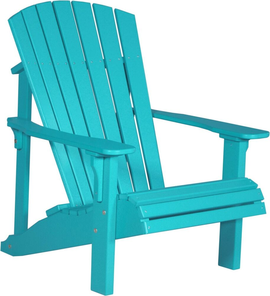 Poly furniture wood deluxe adirondack chair aruba blue for Outdoor garden furniture