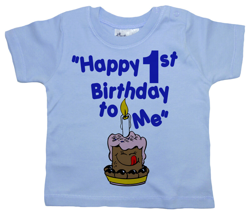 "Dirty Fingers Cute Baby T-shirt Boys Girls Top ""Happy 1st"