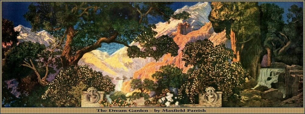 maxfield parrish art deco dream garden poster tiffany window style 12 x 32 ebay - Dream Garden