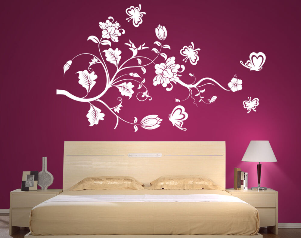 wandtattoo ranke blumen blumenranke hibiskus wandaufkleber schmetterlinge pf45 ebay. Black Bedroom Furniture Sets. Home Design Ideas