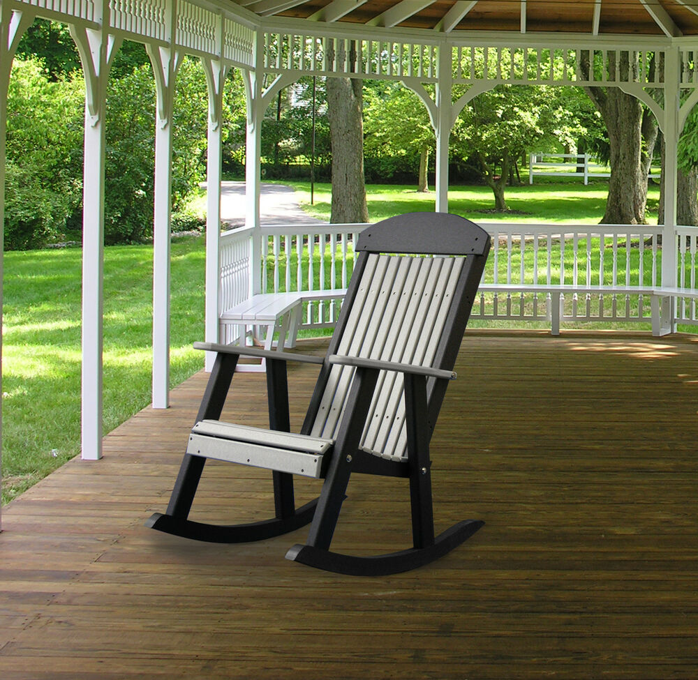 Poly furniture wood porch rocker dove gray black for Rocking chair