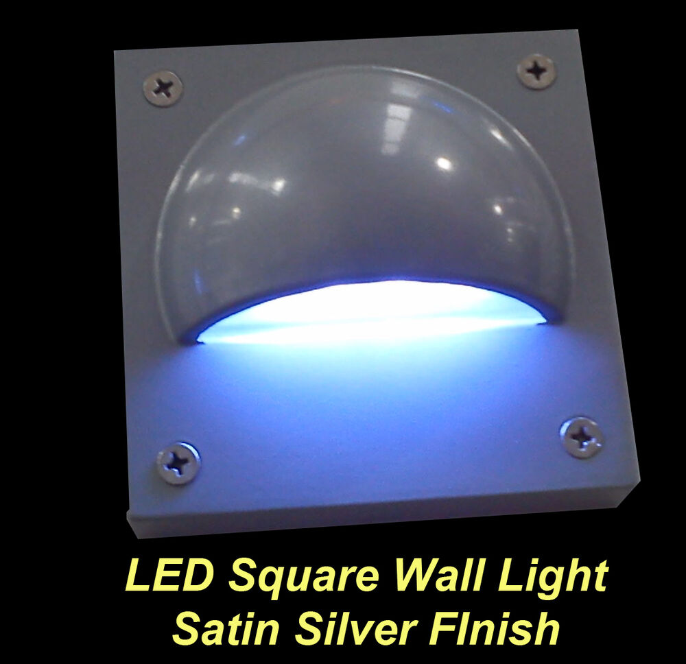 Led Square Outdoor Wall Light Satin Silver 12v Safe Low
