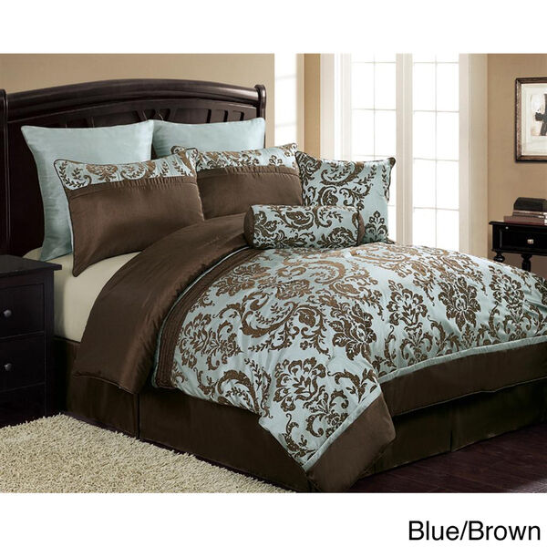 Bedding Decor: 8pc Blue And Brown Oversized Damask Comforter Set