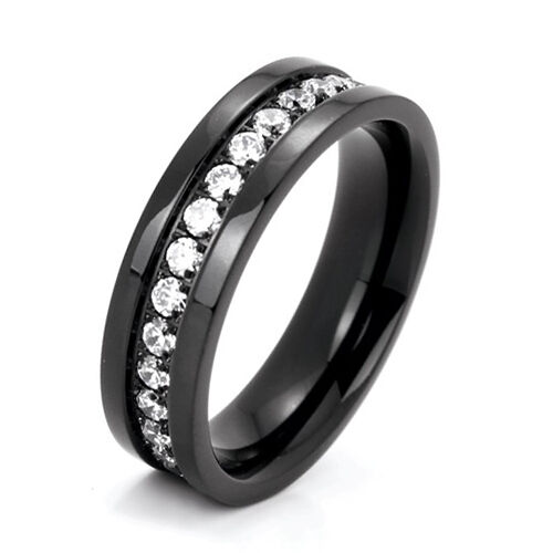 cubic zirconia wedding rings black titanium eternity wedding engagement band cubic 3220