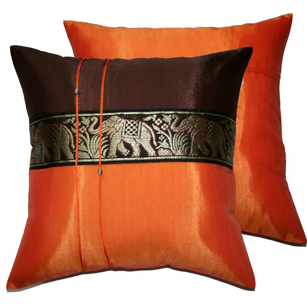Silk Decorative Pillow Covers : 2 Thai Silk Elephant Decorative Pillow Cover Cushion Cases Sofa Brown Orange eBay