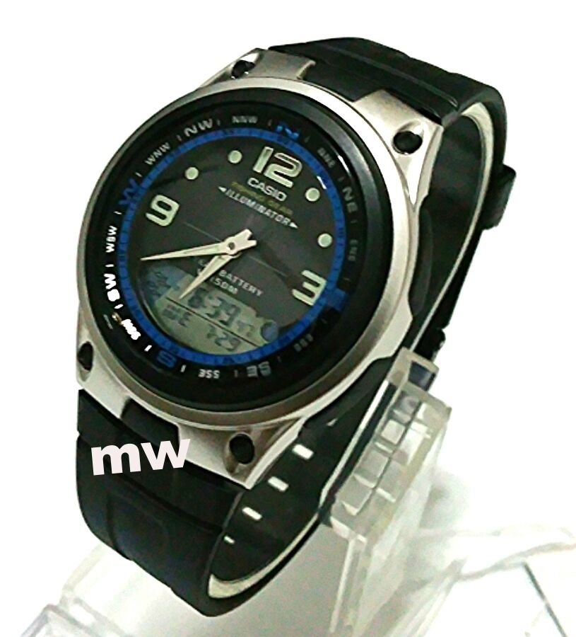 Casio aw 82 1a moon phase dual time 50m fishing gear black for Casio fishing watch