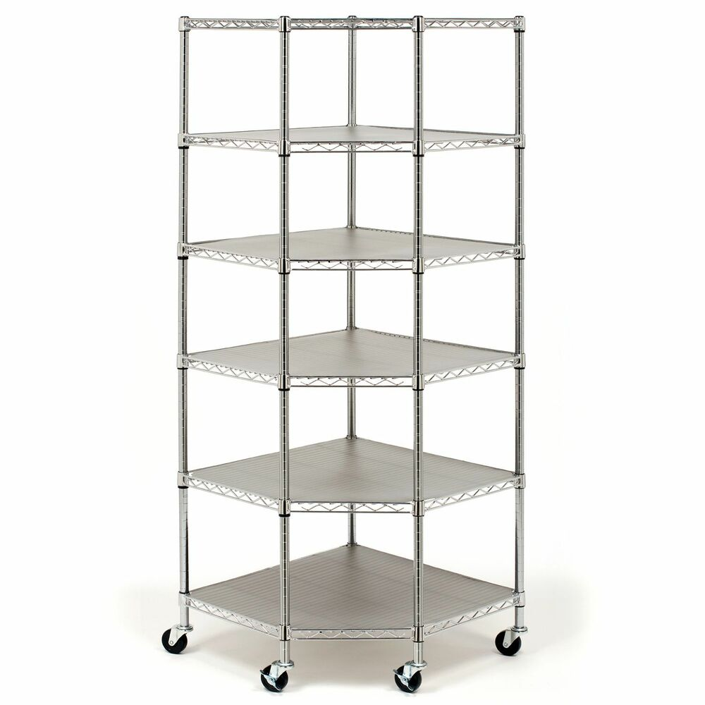 seville heavy duty steel 6 tier corner shelf rolling metal. Black Bedroom Furniture Sets. Home Design Ideas