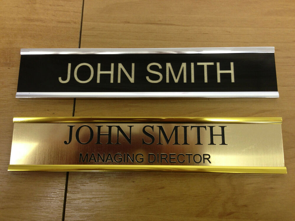Door personalised name plate holders metal effect with for Door name plates