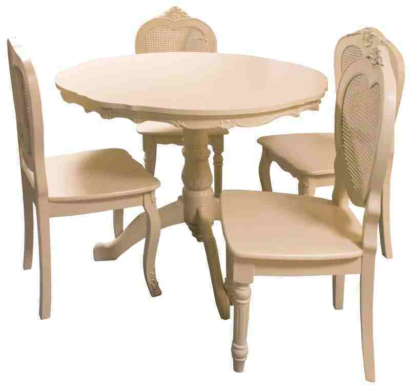 Bergere french style shabby chic distressed antique cream round dining table ebay - Shabby chic round dining table and chairs ...