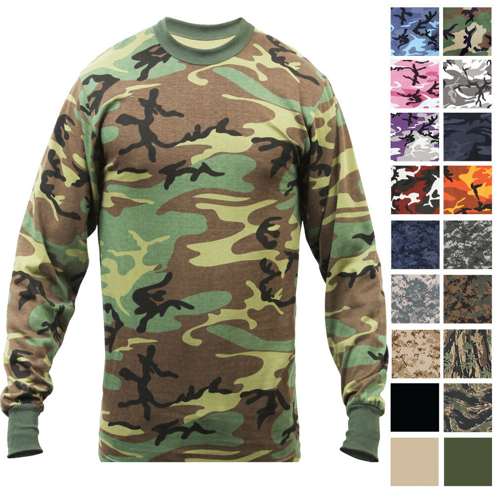 Details about Camo Long Sleeve T-Shirt Tactical Military Crew Tee  Undershirt Army Camouflage bbfa1f960f4