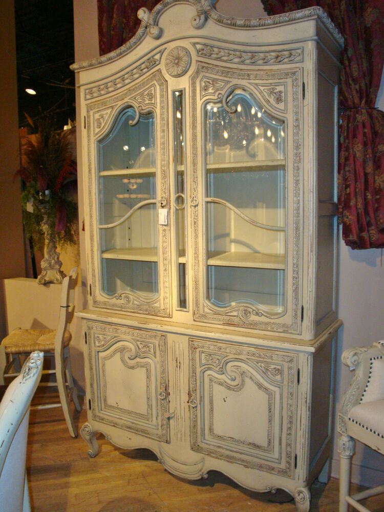 French Country Handcarved Off White Buffet Hutch Display