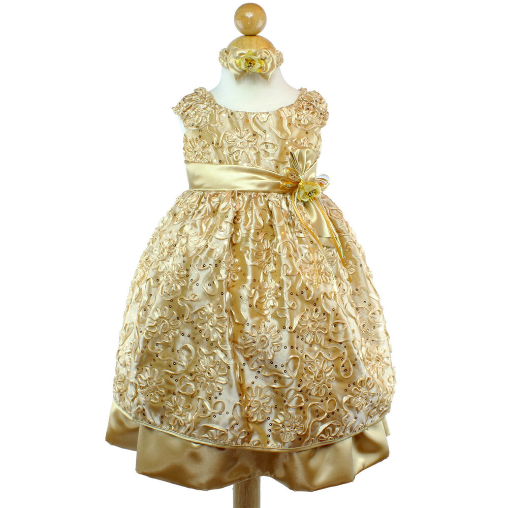 Gold Flower Girl Dress Bridesmaid Party Wedding Pageant