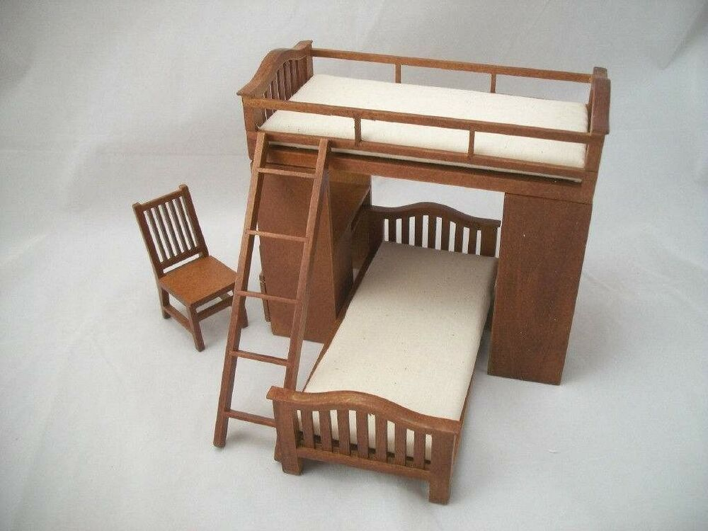 Bunk bed w chair desk dollhouse miniature 1 12 scale wooden furniture t6251 ebay Dollhouse wooden furniture