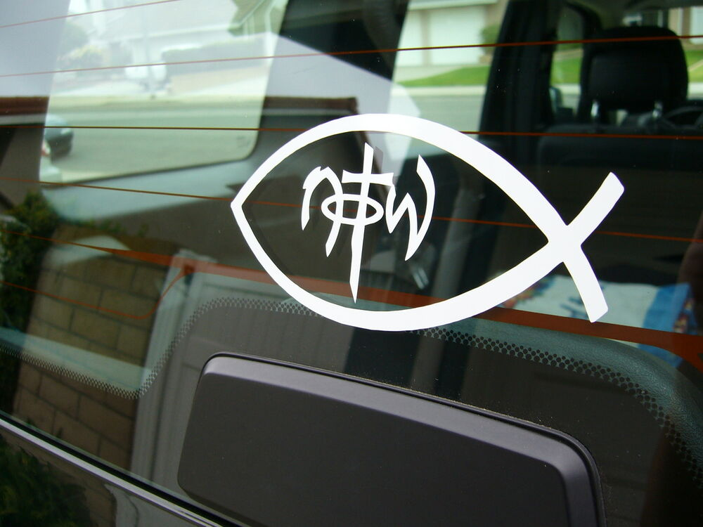 Christian fish symbol notw white vinyl window laptop for Fish symbol on cars