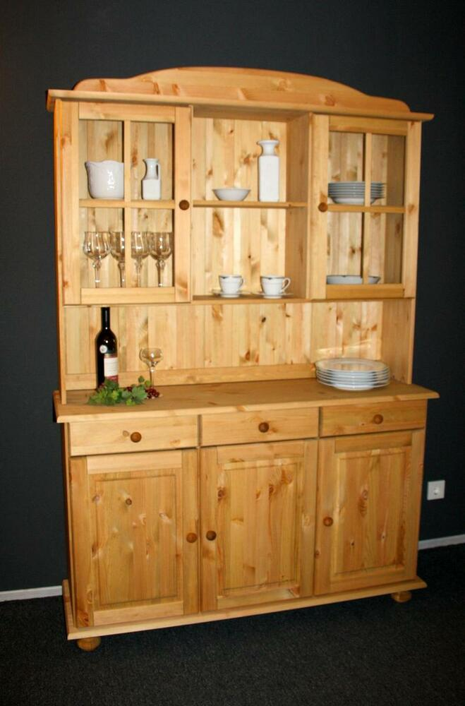 esszimmerschrank buffet schrank vitrine massiv holz kiefer gelaugt ge lt k chen ebay. Black Bedroom Furniture Sets. Home Design Ideas