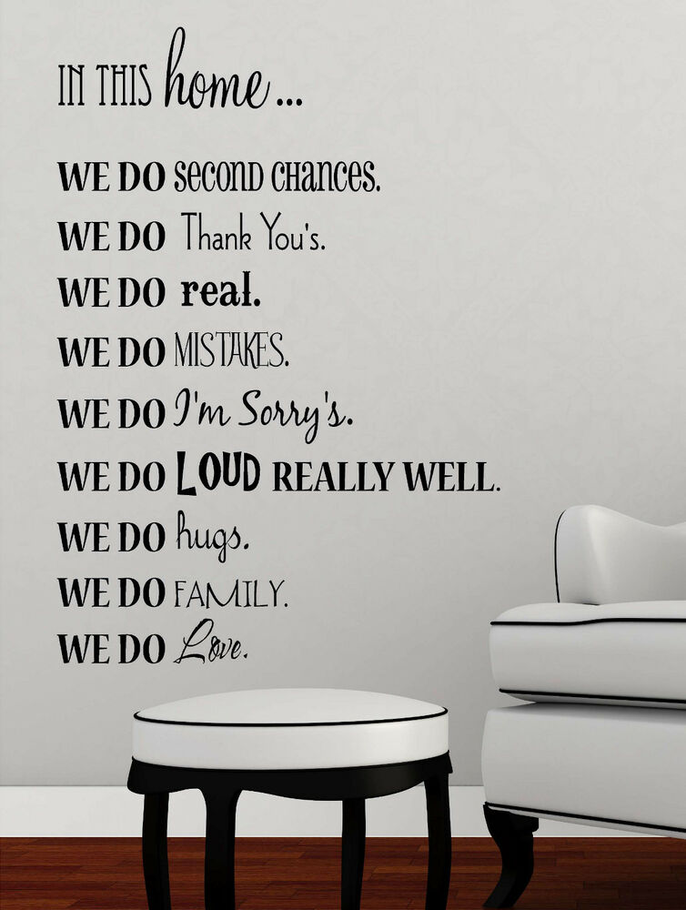 In This Home Vinyl Lettering Wall Art Words Quotes