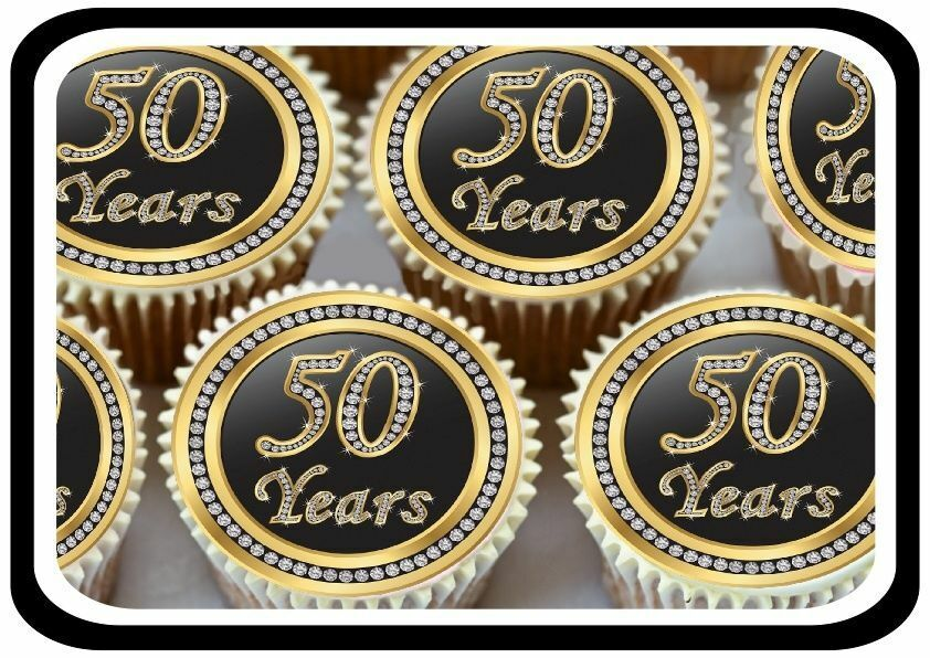 60th wedding anniversary cake toppers 30 gold 50th birthday anniversary edible cupcake toppers 1172