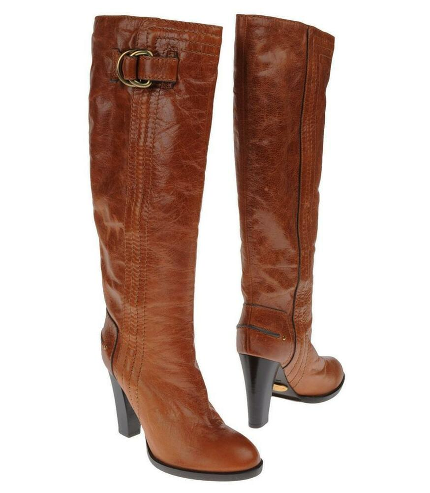 new leather buckle brown cognac toll boots 39 9 ebay