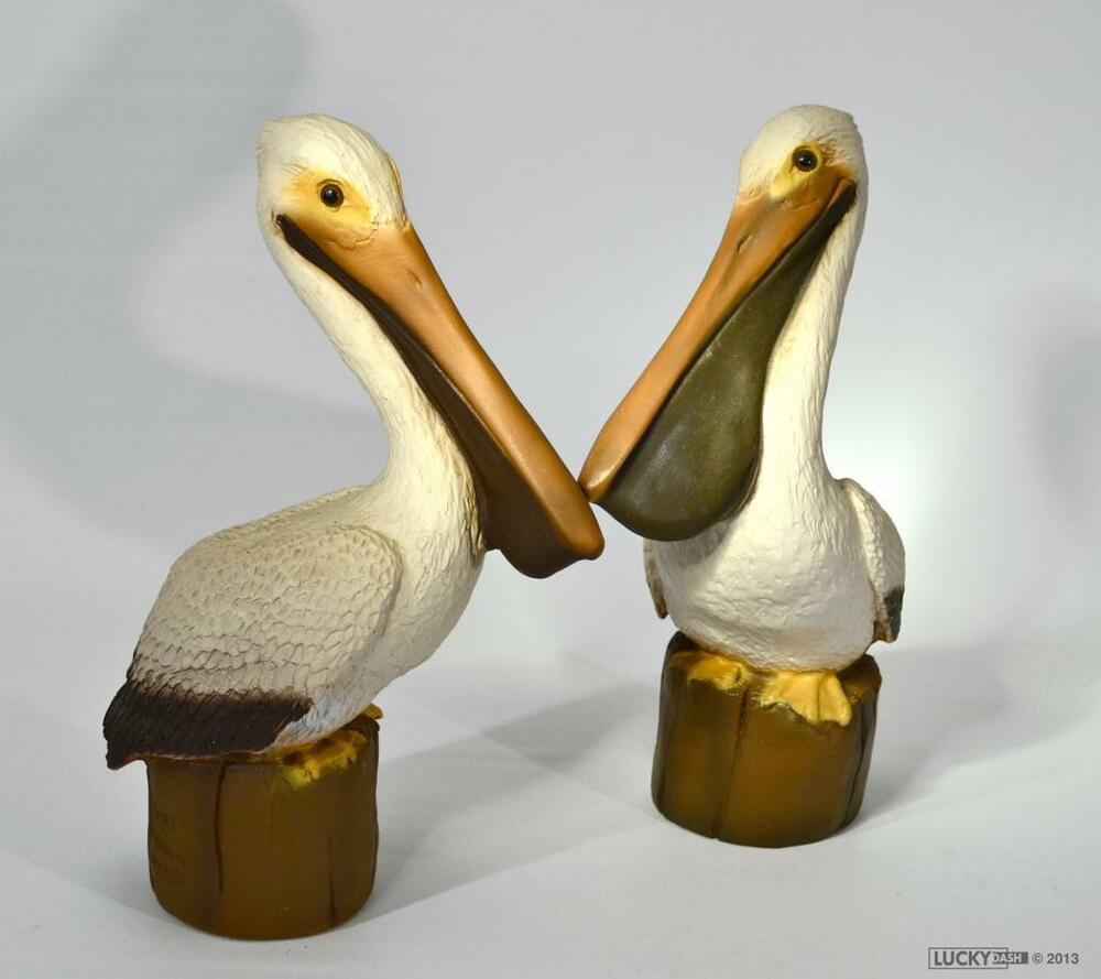 Vintage 1983 pair pelican statues outdoor decor nautical for Garden ornaments and accessories